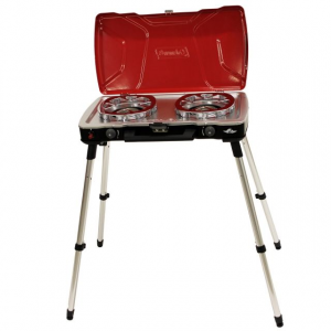 Coleman Fyre Captain 2-Burner Propane Camping Stove, Telescoping Legs, Fuel Type - 16.4 oz Propane Cylinder, Red