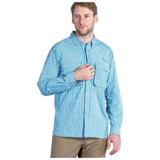 ExOfficio Men's Air Strip Micro Plaid LS Shirt - Small - Riviera