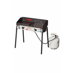 Camp Chef Expedition 2X Stove, 2 x 30000 BTU/hr Burners, Stainless/Black