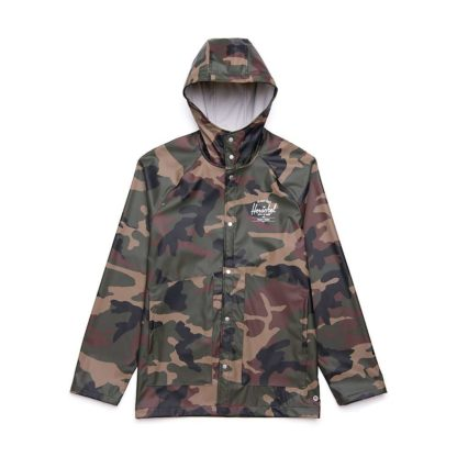 Herschel Supply Co Men's Classic Rain Jacket - Small - Woodland Camo / White Classic Logo 2