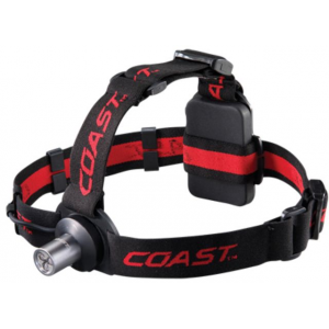Coast HL3 66 Lumens LED Headlamp, Black/Red Headband - Clam Pack