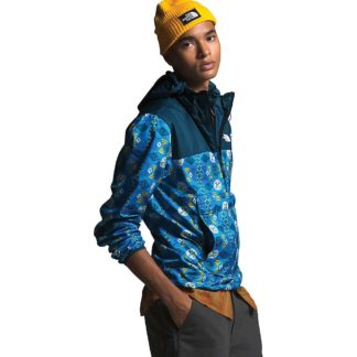 The North Face Men's Novelty Fanorak Jacket - XL - Clear Lake Blue Song Lines Print / Blue Wing Teal