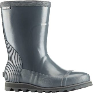 Sorel Women's Joan Rain Short Gloss Boot - 6 - Graphite / Sea Salt