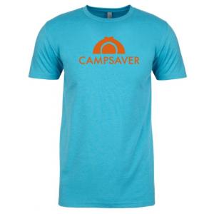 CampSaver Logo T-Shirt - Men's, Bondi Blue/Orange Logo, 2XL