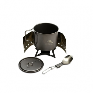 TOAKS Ultralight Titanium Cook System w/ Solid Alcohol Stove, Grey