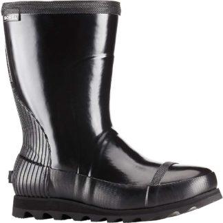 Sorel Women's Joan Rain Short Gloss Boot - 6 - Black / Sea Salt